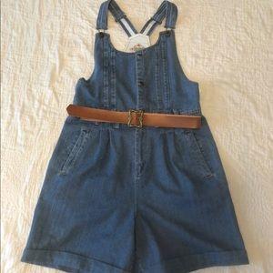 90s NEW Overalls Shorts Belted Large Vintage Blue